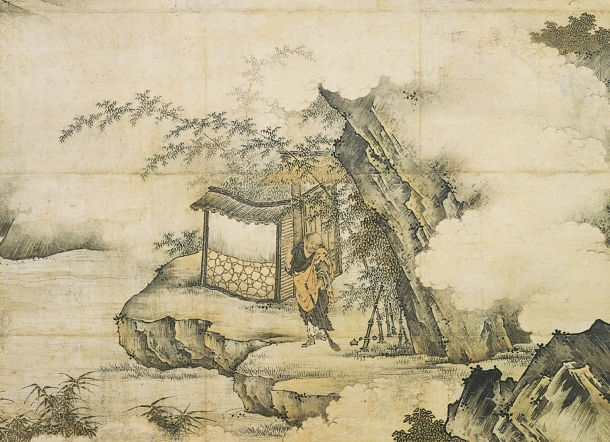 """Zen Patriarch Xiangyen Zhixian Sweeping with a Broom"" - Kano Motonobu"